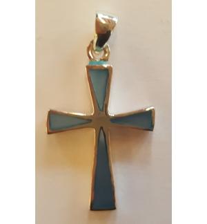 Pendentif croix nacrée bleu