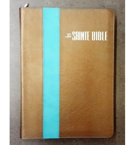 Bible Esaïe grand format texte confort Souple, fermeture éclair, bronze turquois