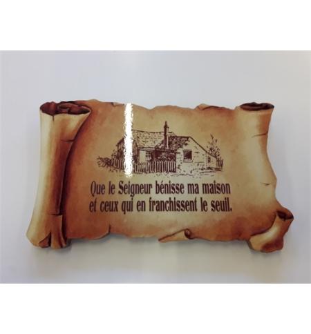"""Cadre en bois Parchemin """"Que le Seigneur bénisse ma maison ..."""""""