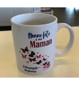 """Mug blanc """" Bonne fête Maman Prov. 1:8-9"""""""