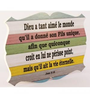 Cadre en bois Dieu a tant aimé le monde - Jean 3.16 -