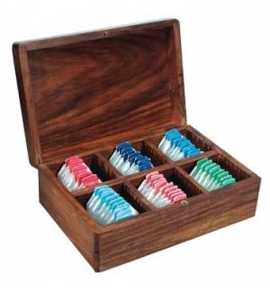 Boîte à thé 6 compartiments en bois de sesham