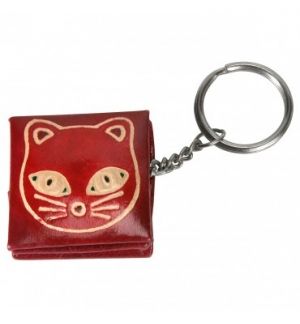 Porte clé et porte monnaie chat en cuir