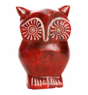 Chouette rouge en pierre de gorara