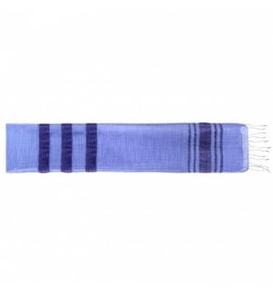 Écharpe soie bleue à rayures